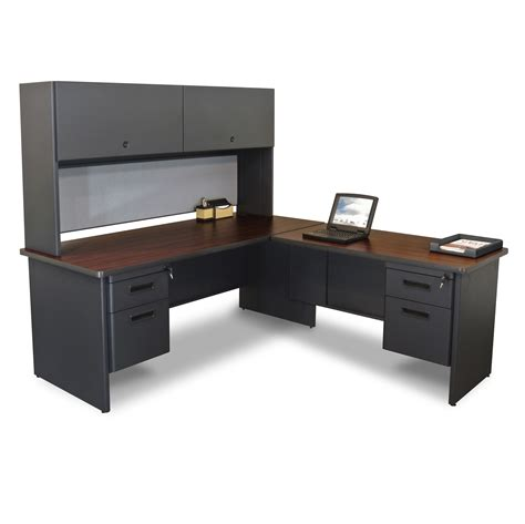 Office Desks L Shape Marvel Prnt6 Marvel Pronto Right L Shaped Desk With Closed Hutch