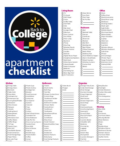 New Apartment Checklist   9  Free Word, PDF Documents