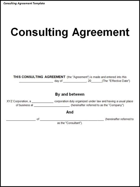 consulting contracts templates free agreement templates archives templates