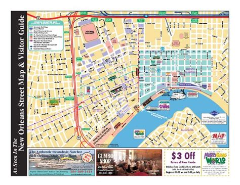 printable maps new orleans french quarter map with attractions 29 9579091166877 90