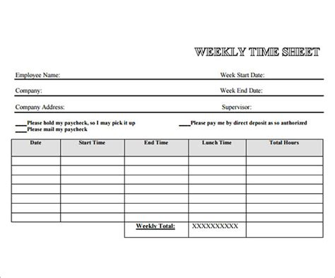 Employee Time Card Template Free Weekly by Employee Timesheet Template 8 Free For Pdf