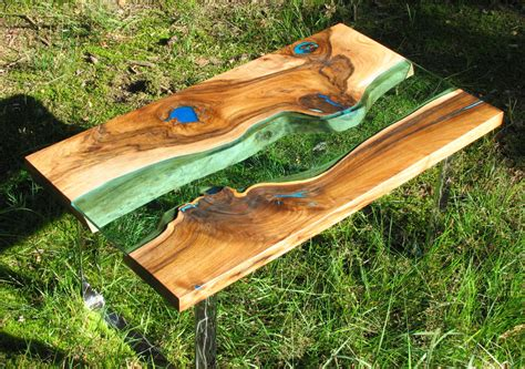 resin river coffee table handmade live edge river coffee table with glowing resin fillin