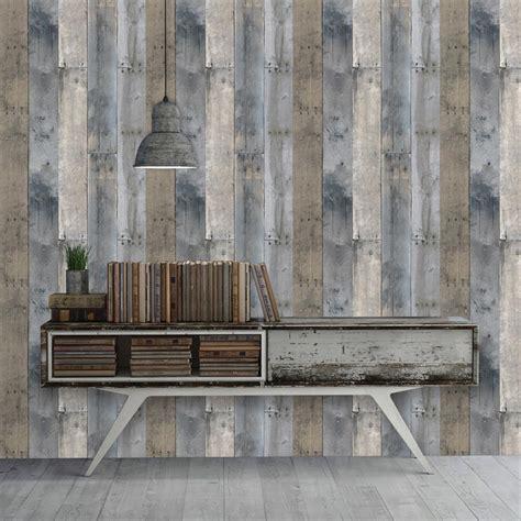 wood panel removable wallpaper wallsneedlove reclaimed wood industrial loft multi colored removable