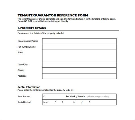 rental reference template sle rental reference form 8 free documents