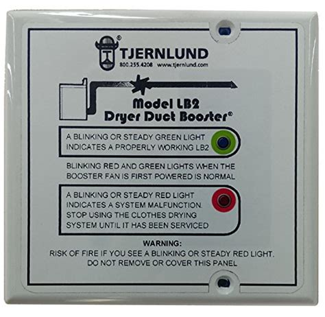tjernlund lb2 dryer booster fan tjernlund lb2 dryer duct booster with status panel ul 705