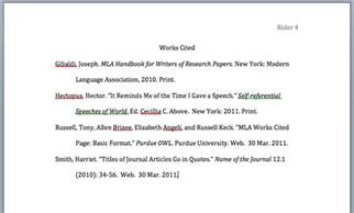 mla style papers works cited page layout jerz s