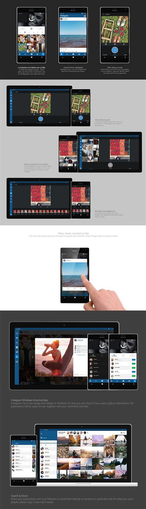 graphic design instagram app instagram universal app for windows 10 on behance
