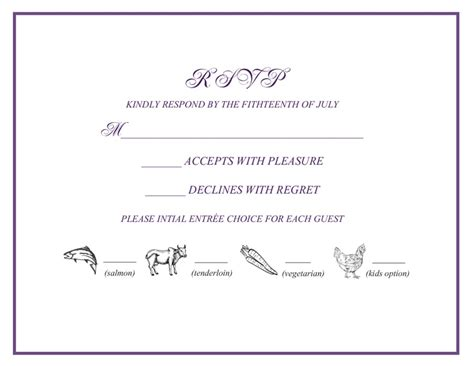 dinner response card template wedding rsvp w menu selections wedding favorites