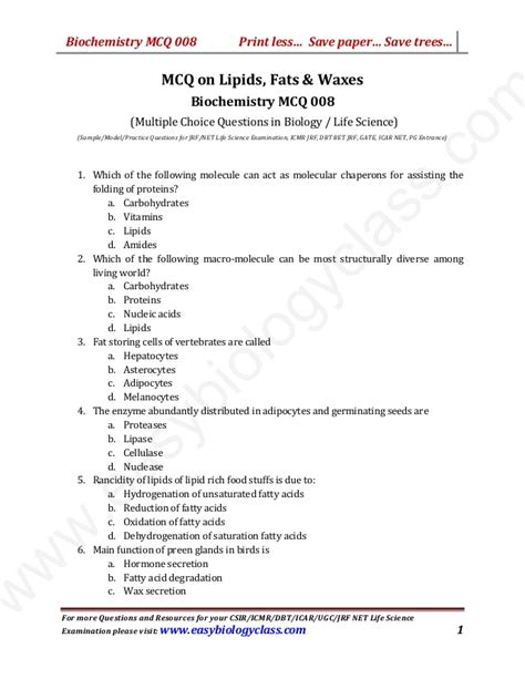 Lipid Worksheet Answers by Mcq On Lipids Fats And Waxes With Answer Key And