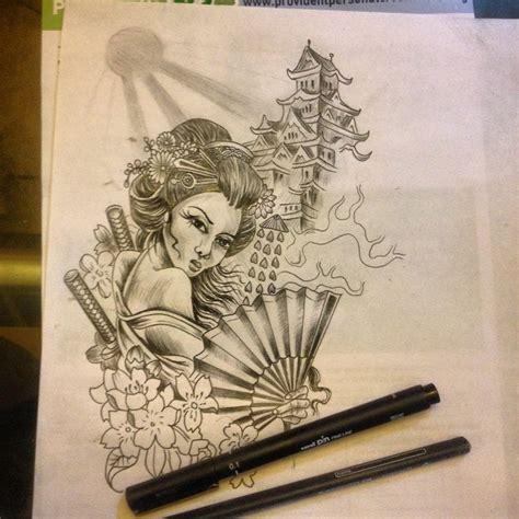 tattoo geisha sketch sketch up for a japanese geisha half sleeve im about to