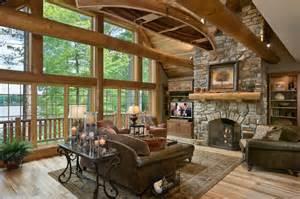 log homes interior craftsmanship abounds in a wisconsin half log home