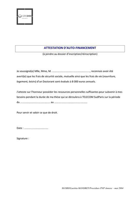 Exemple d'attestation d'auto-financement - DOC, PDF - page