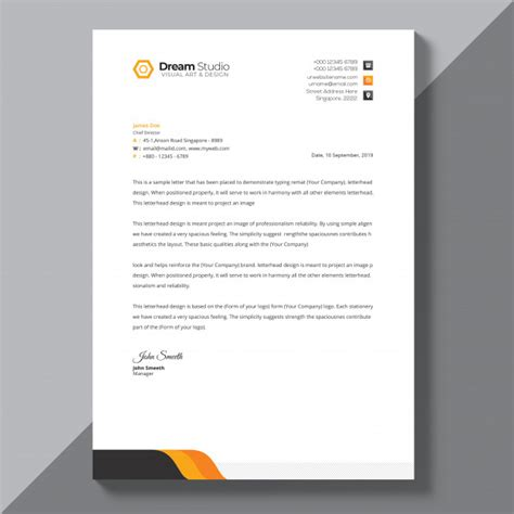 psd letterhead template orange details