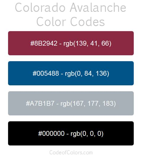 colorado avalanche colors colorado avalanche team color codes nhl team colors in