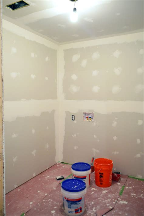 drywalling a bathroom insulating walls padding wallets young house love