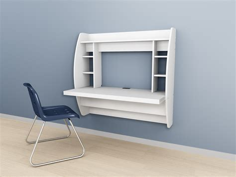 Wall Mounted Prepac Floating Storage Desk White Black Wall Desk