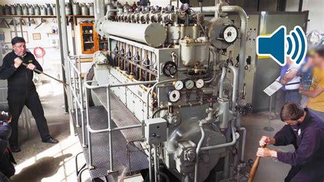 u boat engine start up of a ww2 submarine diesel engine of a german u