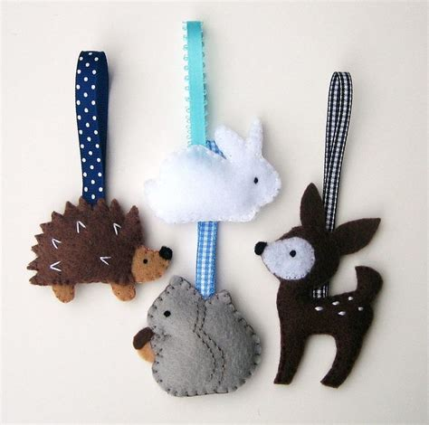 Handmade Felt Animals - handmade felt ornaments woodland animals deer
