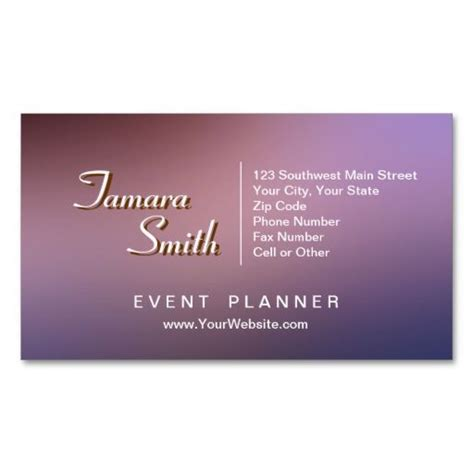 Event Planner Business Card Templates Free by Purple And Pink Event Planner Business Card Template