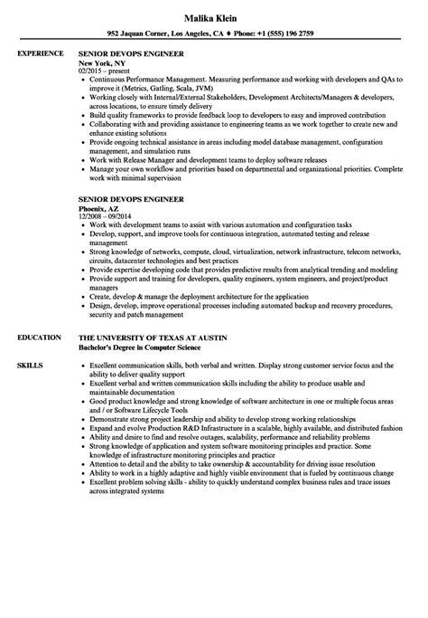 Devops Resume by Senior Devops Engineer Resume Sles Velvet
