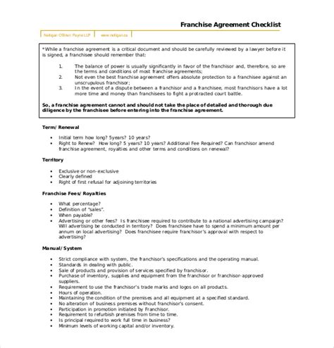 franchise templates 28 images franchise agreement