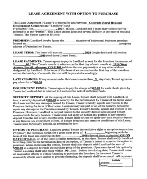 6 Rent To Own Home Contracts Sle Templates Rent To Own Property Agreement Template