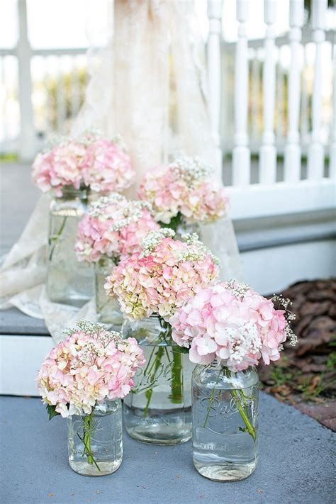 hydrangea and baby s breath jar jars and