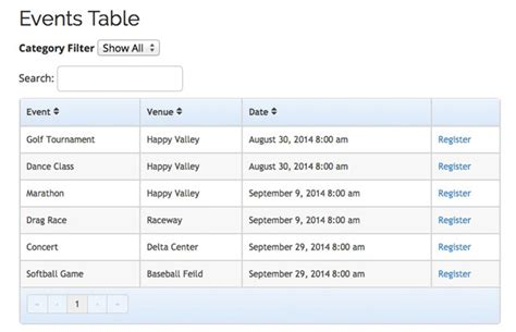 Event Table events table view template add on event espresso event registration calendar