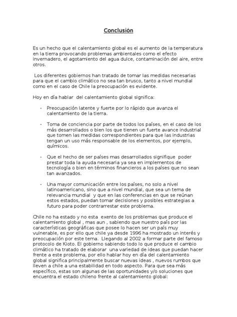 indice de un proyecto 8vo nivel scribdcom conclusion calentamiento global