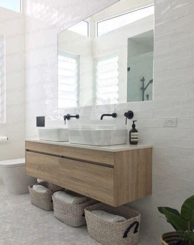 bathroom stahl ibiza 1500mm white oak timber wood grain wall hung double vanity w stone top