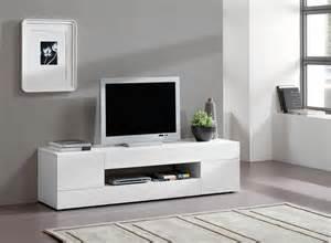 meuble tv design 2 portes 2 tiroirs laqu 233 blanc melvie
