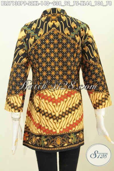Blus Batik Shanghai Panjang 78 blus batik kerah shanghai klasik motif sinaran baju kerja bahan batik wanita karir model lengan