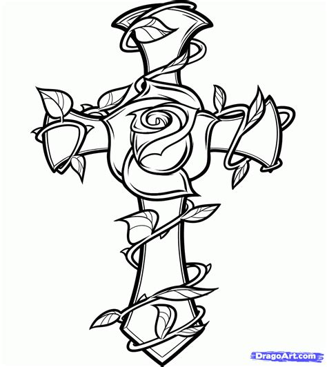cross rose tattoo step 8 how to draw a and cross