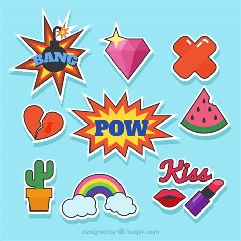 pop art basic art basic pack of pop art stickers vector free download