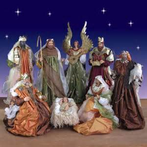 life size nativity 9 piece set in resin and fabric