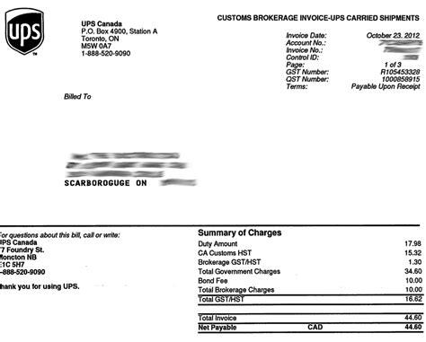 Ups Receipt Template by Ups Sends Brokerage Fees Bill To Wrong Customer 推酷