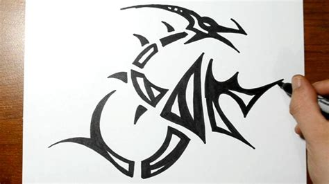 learn how to draw a dragon tattoo tattoos step by step how to draw a tribal dragon youtube