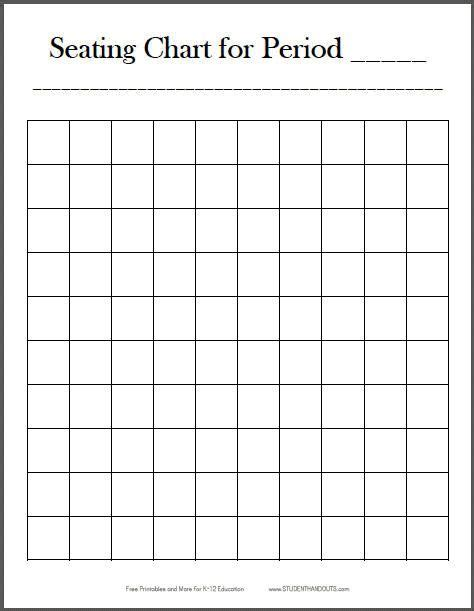 seat chart template free printable 10x10 vertical classroom seating chart