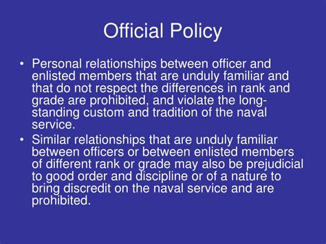 Difference Between Enlisted And Officer by Ppt Navy Fraternization Policy Powerpoint Presentation