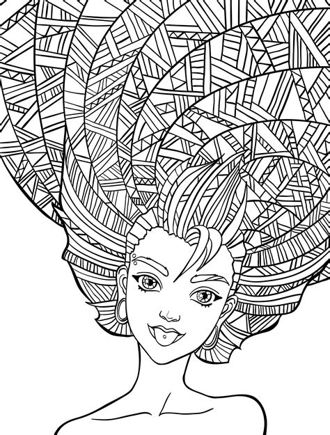 10 Crazy Hair Adult Coloring Pages | Free adult coloring