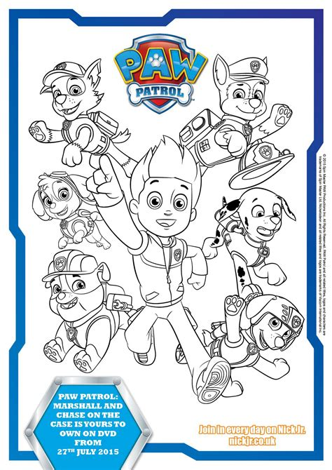 printable images of paw patrol paw patrol colouring pages and activity sheets in the