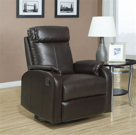 sears leather recliners monarch specialties recliner swivel rocker dark brown