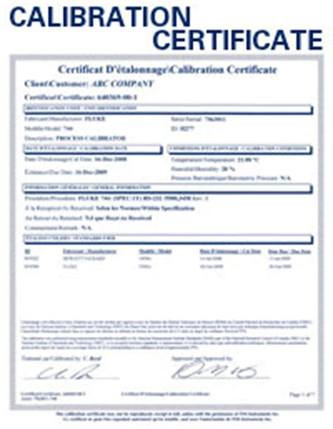 calibration certificate template qualified calibrations nist certification and repairs