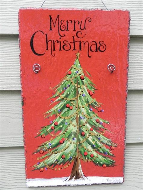 painted hand christmas trees tree merry painted slate plaque ready to ship trees
