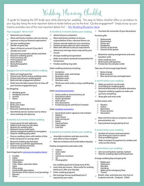 wedding plans printable wedding planning checklist for diy brides