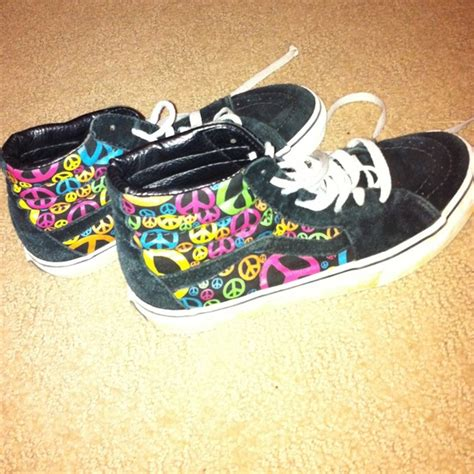 colored vans vans shoes multicolored peace sign high tops poshmark