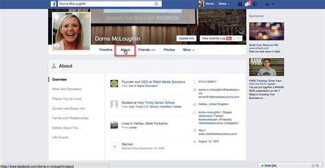 facebook business page about section add your facebook business page to your profile ribbit media