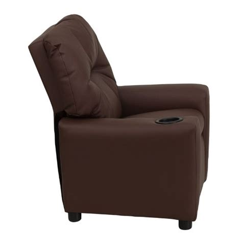 single recliner with cup holder flash furniture bt 7950 kid brn lea gg contemporary brown