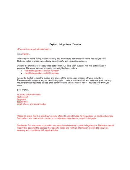 real estate marketing letter examples templates