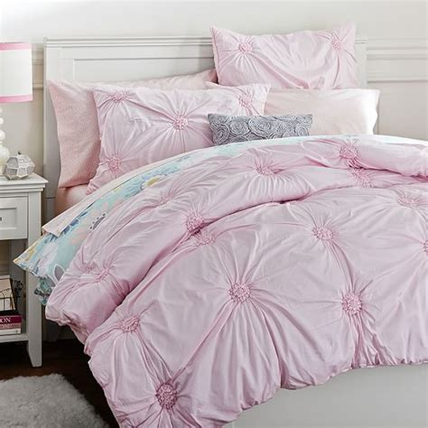 Rosette Bedding by Ruched Rosette Quilt Sham Blush Pbteen